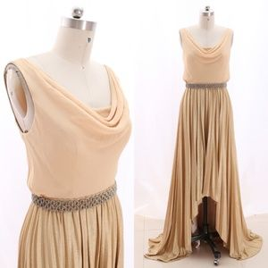 Straps Cowl Neck Gold High Low Evening Gown